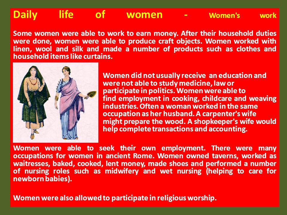 Daily life of women - Women s work