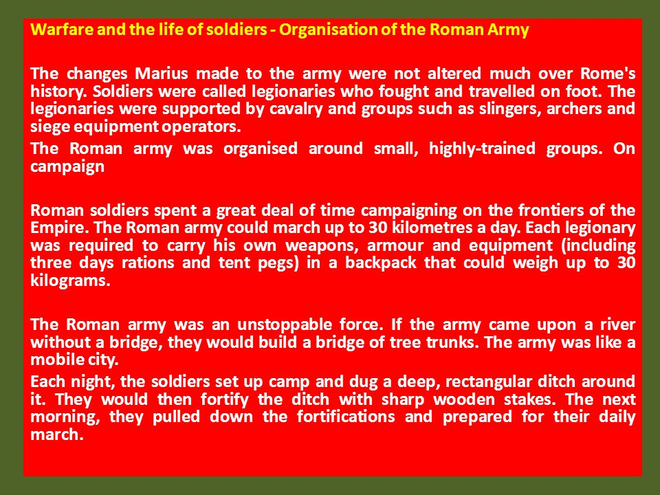 Warfare and the life of soldiers - Organisation of the Roman Army
