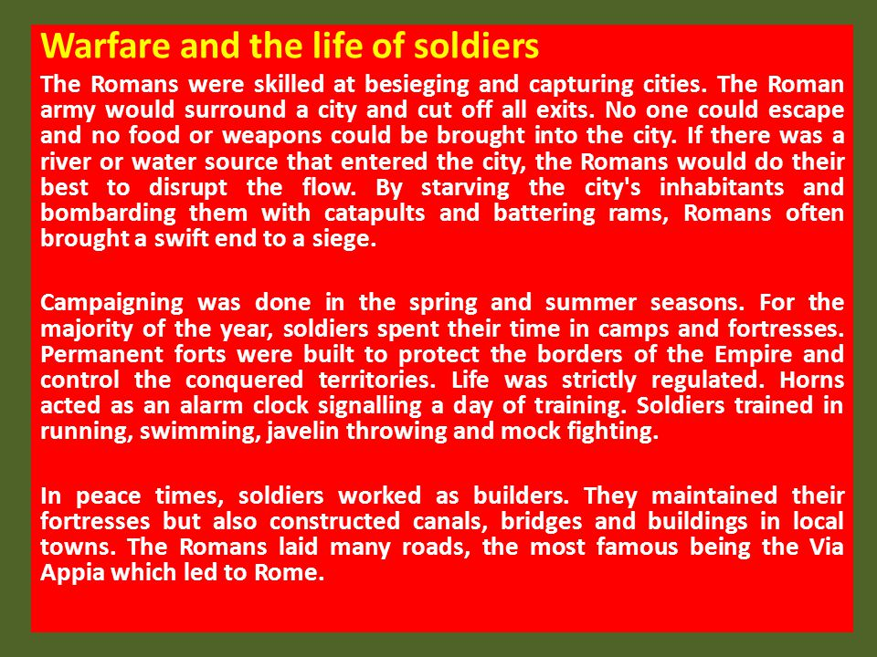 Warfare and the life of soldiers