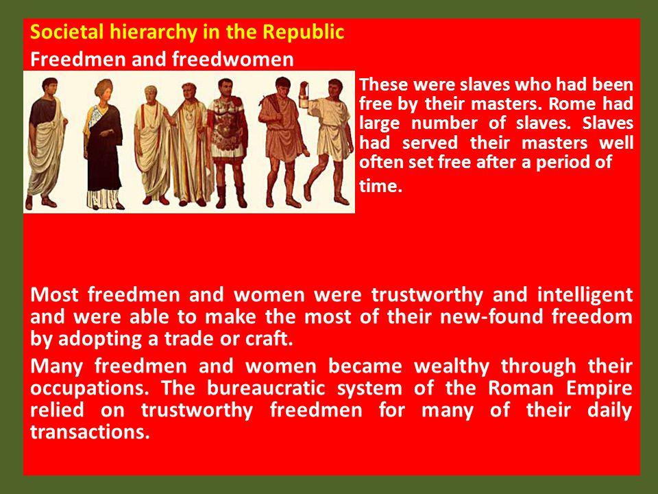 Societal hierarchy in the Republic Freedmen and freedwomen
