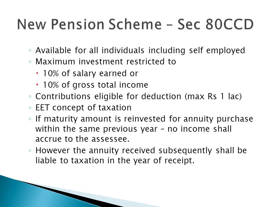 New Pension Scheme – Sec 80CCD