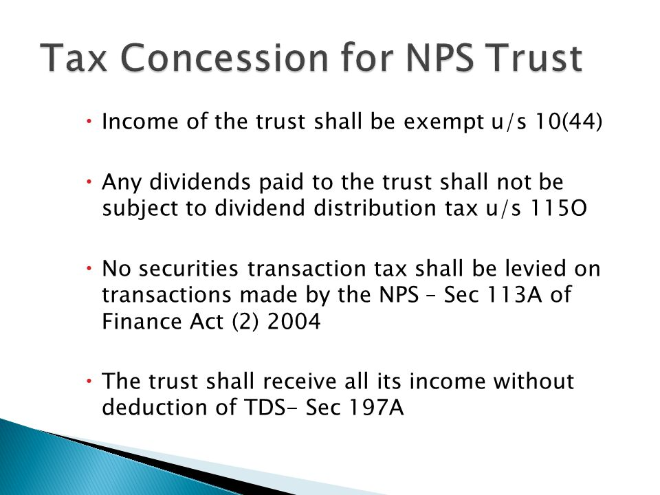 Tax Concession for NPS Trust
