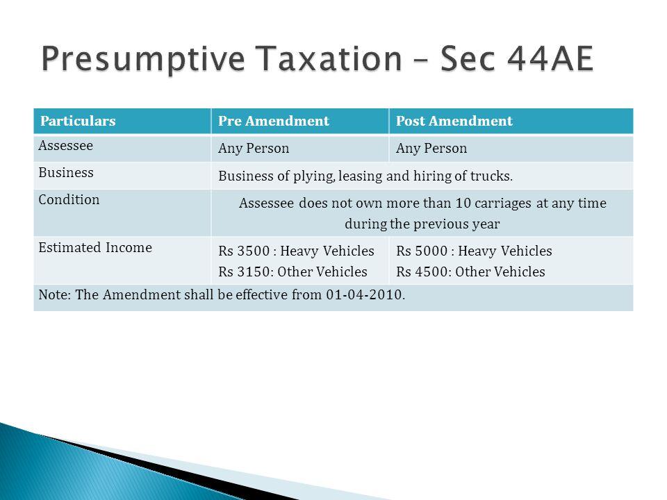 Presumptive Taxation – Sec 44AE