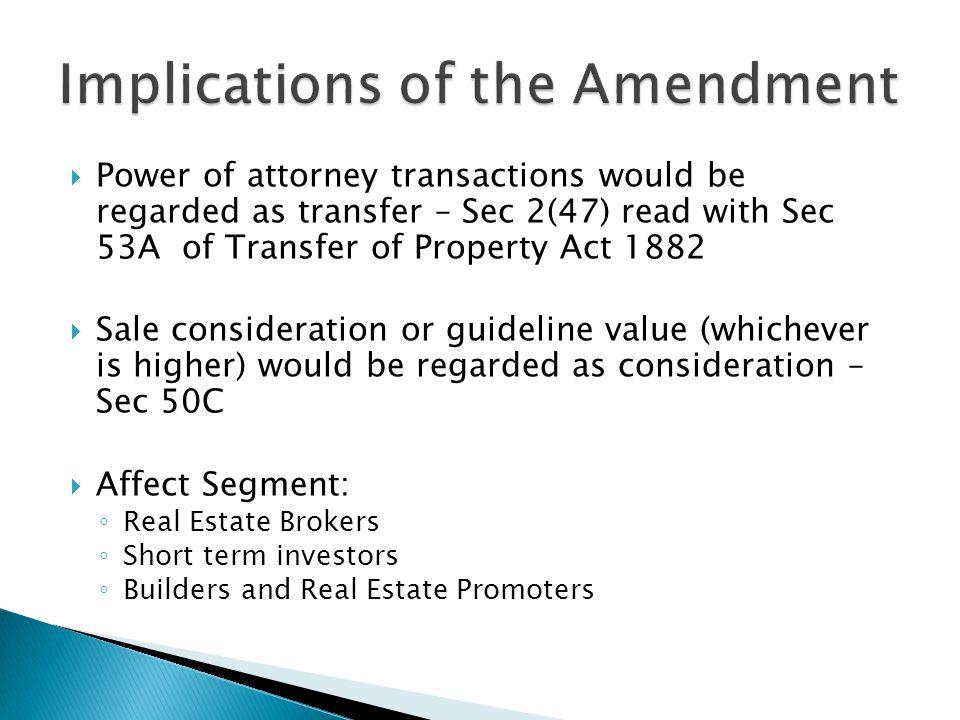 Implications of the Amendment