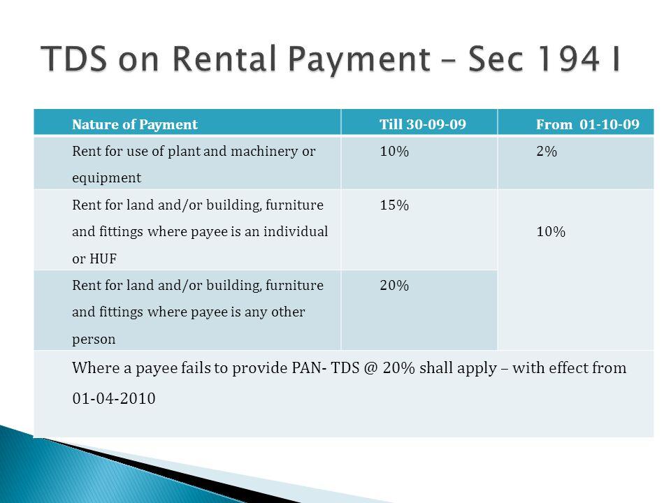 TDS on Rental Payment – Sec 194 I