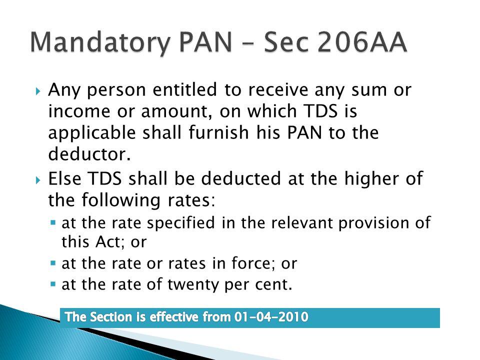 Mandatory PAN – Sec 206AA
