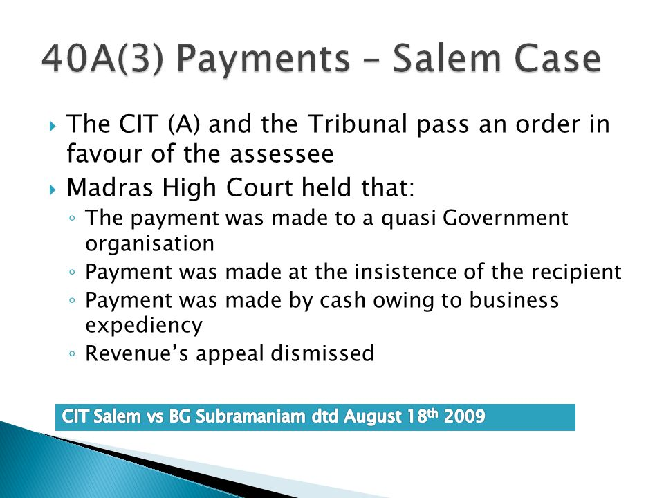 40A(3) Payments – Salem Case