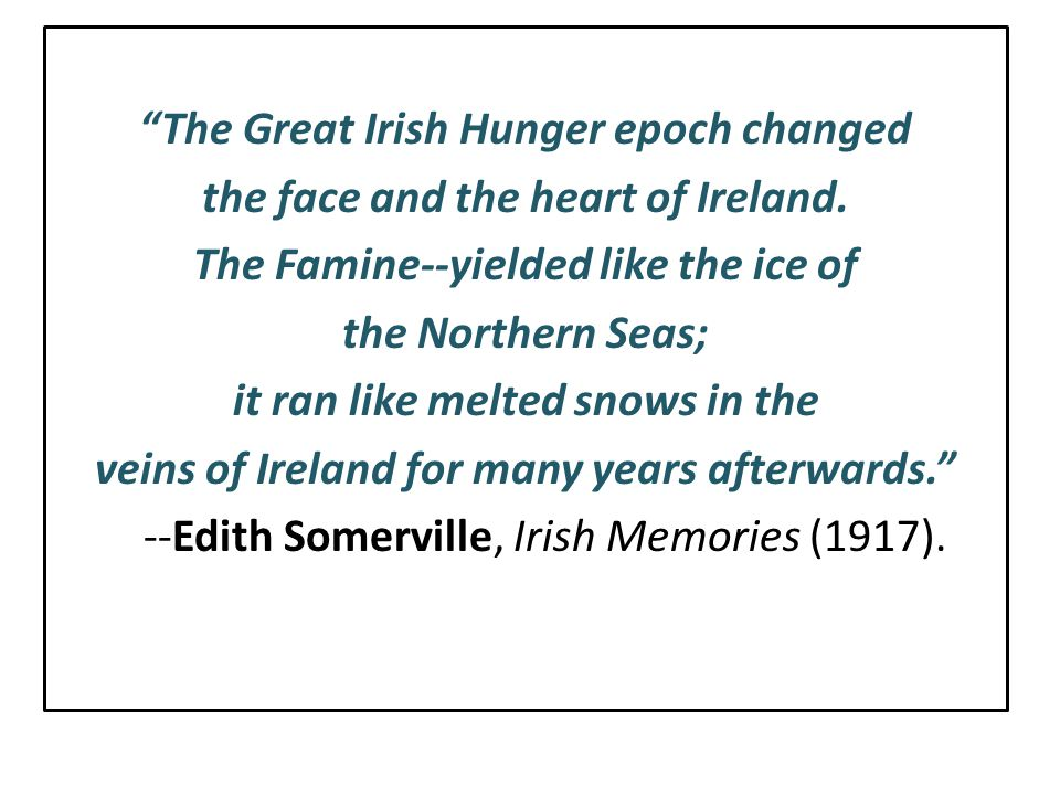 The Great Irish Hunger epoch changed