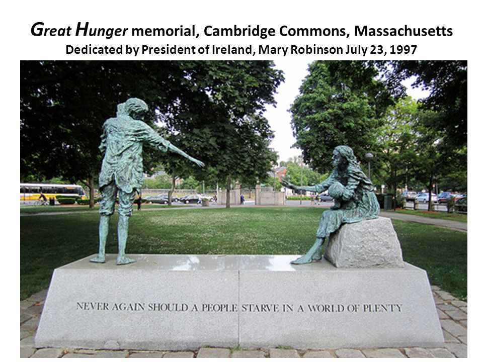 Great Hunger memorial, Cambridge Commons, Massachusetts Dedicated by President of Ireland, Mary Robinson July 23, 1997