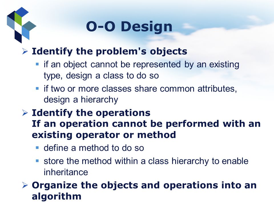 O-O Design Identify the problem s objects