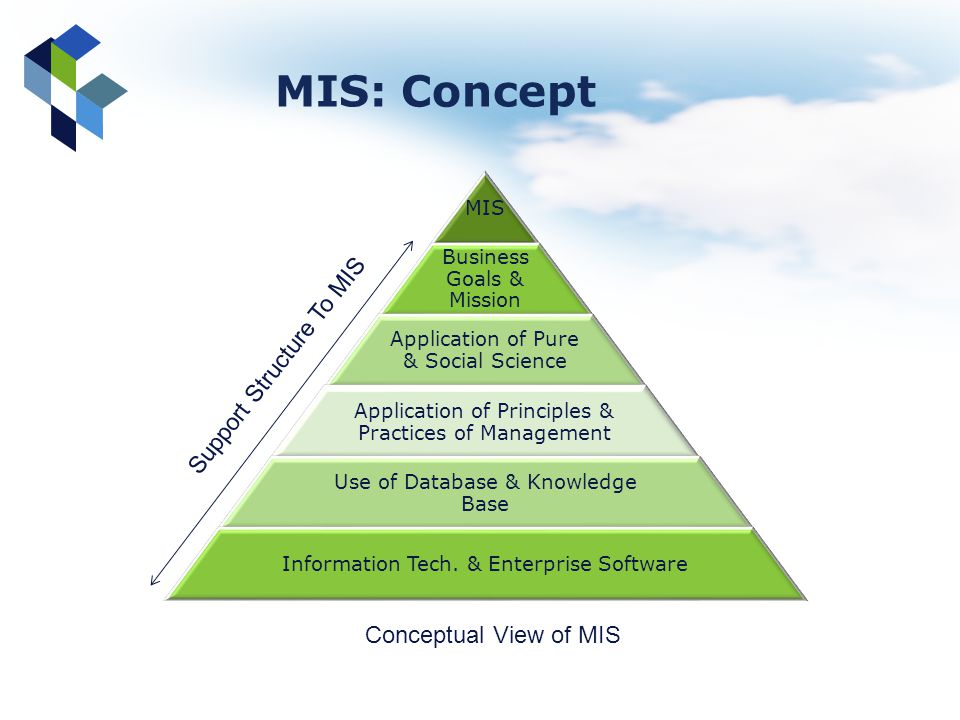 MIS: Concept Support Structure To MIS Conceptual View of MIS MIS
