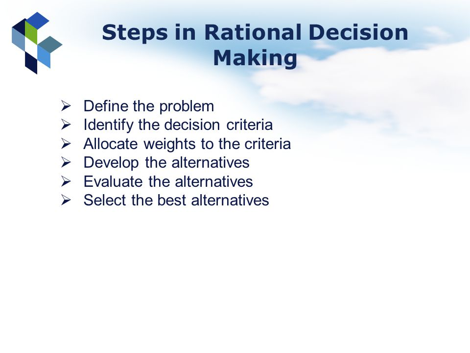 Steps in Rational Decision Making