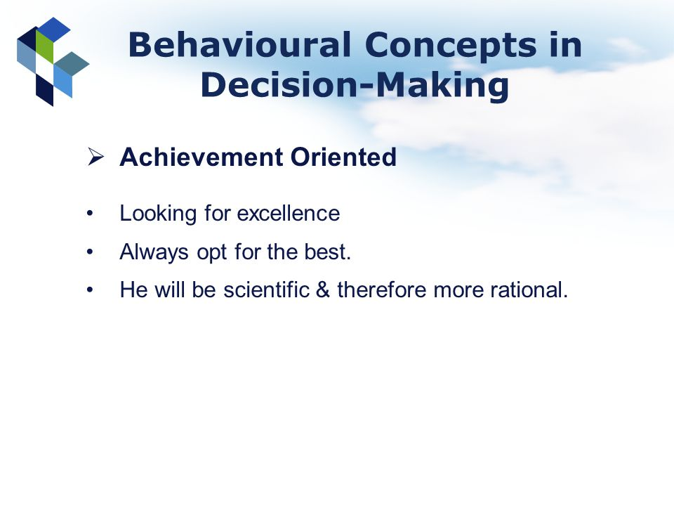 Behavioural Concepts in Decision-Making