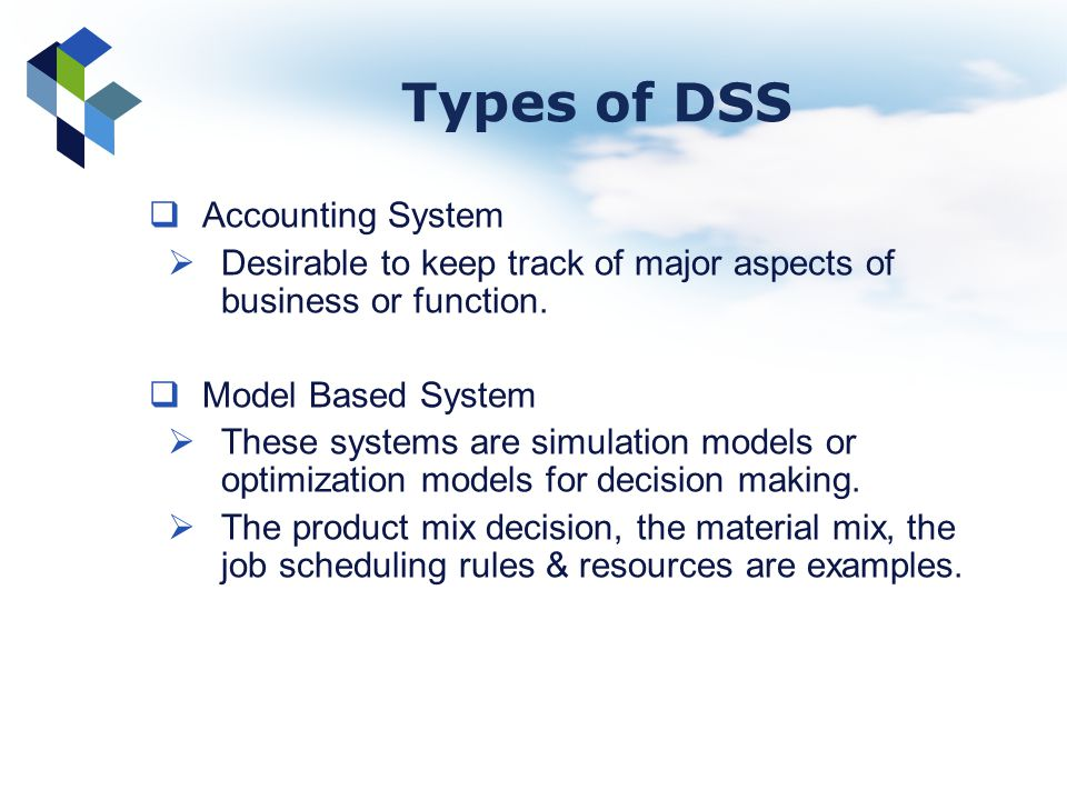 Types of DSS Accounting System