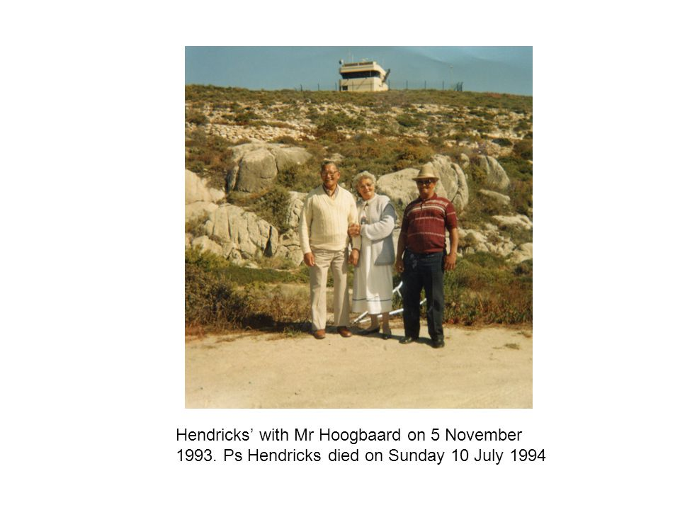 Hendricks' with Mr Hoogbaard on 5 November 1993