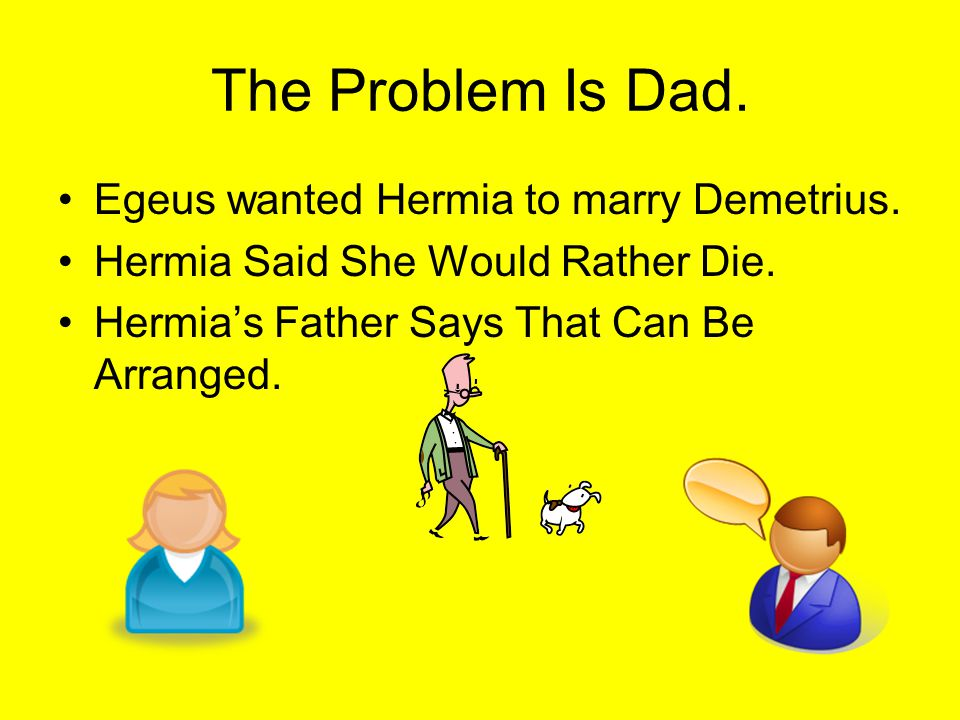 The Problem Is Dad. Egeus wanted Hermia to marry Demetrius.
