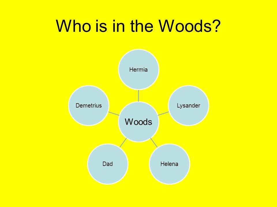Who is in the Woods Woods Hermia Lysander Helena Dad Demetrius