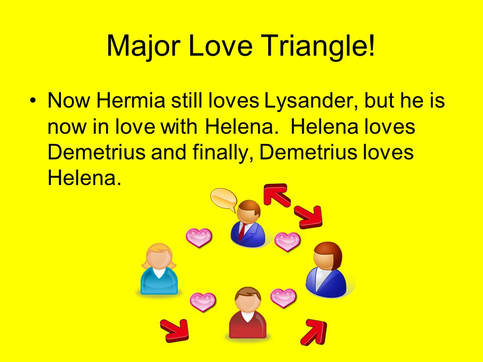 Major Love Triangle. Now Hermia still loves Lysander, but he is now in love with Helena.