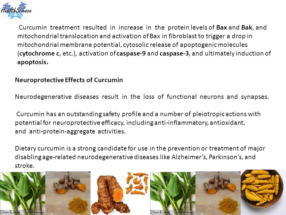 Curcumin treatment resulted in increase in the protein levels of Bax and Bak, and mitochondrial translocation and activation of Bax in fibroblast to trigger a drop in mitochondrial membrane potential, cytosolic release of apoptogenic molecules (cytochrome c, etc.), activation of caspase-9 and caspase-3, and ultimately induction of apoptosis.
