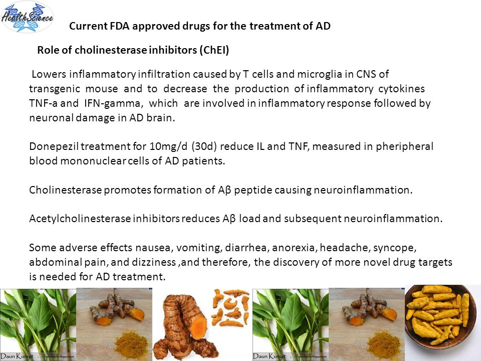 Current FDA approved drugs for the treatment of AD