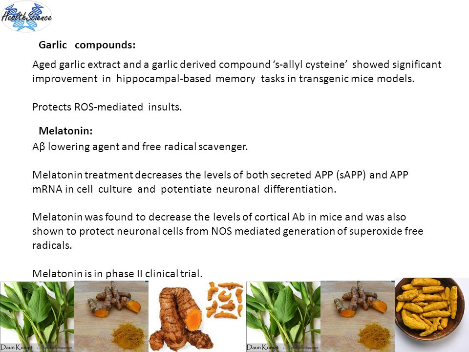 Garlic compounds: Aged garlic extract and a garlic derived compound 's-allyl cysteine' showed significant.
