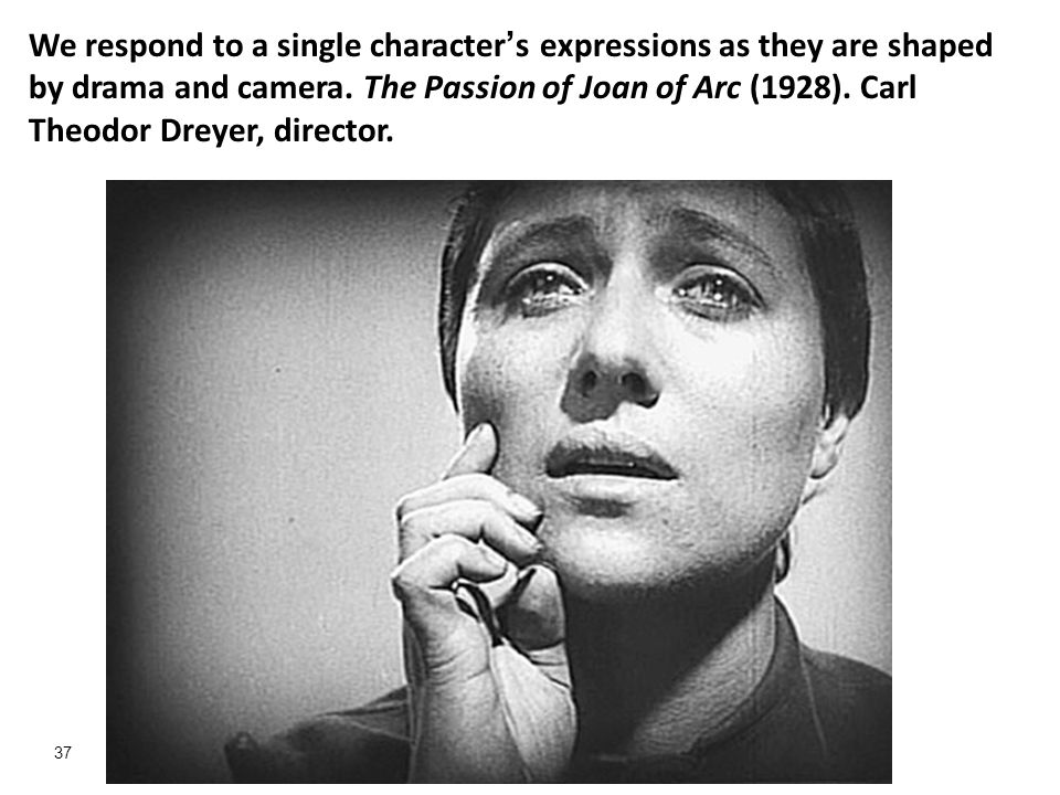We respond to a single character's expressions as they are shaped by drama and camera.