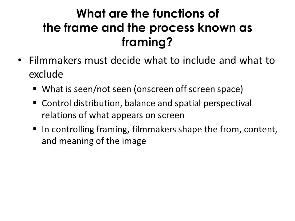 What are the functions of the frame and the process known as framing