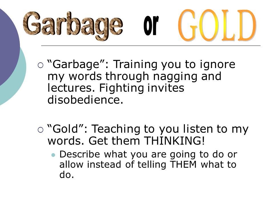 GOLD Garbage. or. Garbage : Training you to ignore my words through nagging and lectures. Fighting invites disobedience.