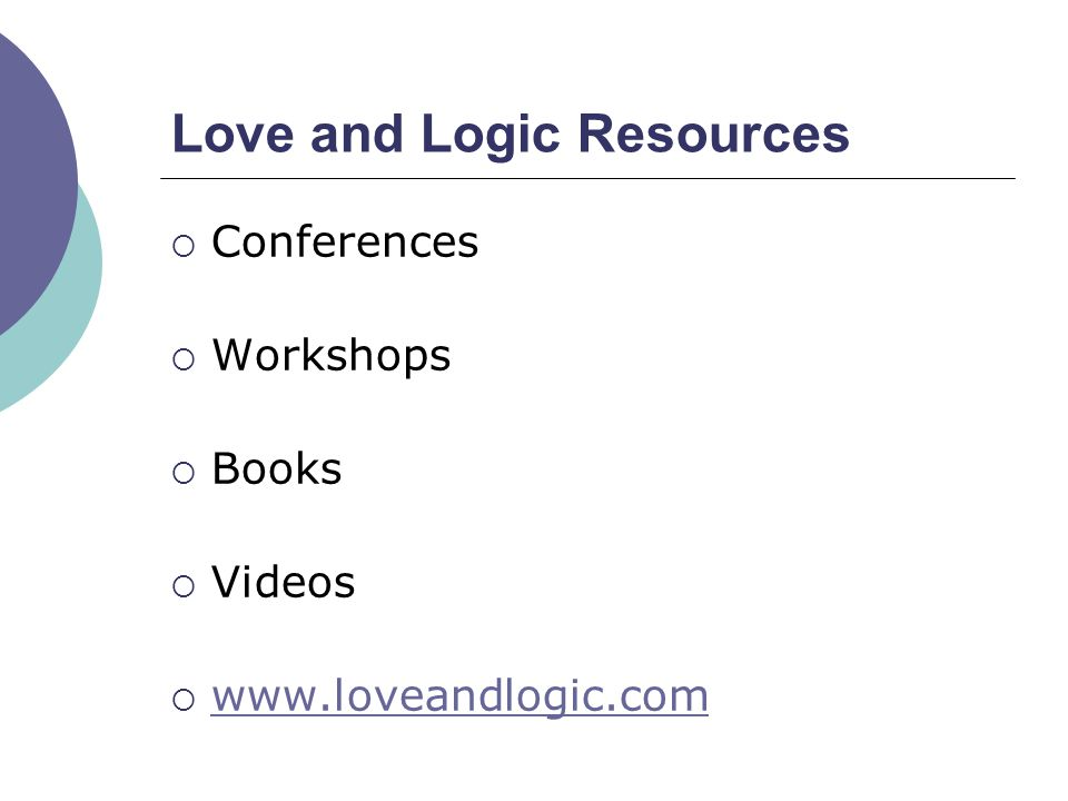 Love and Logic Resources