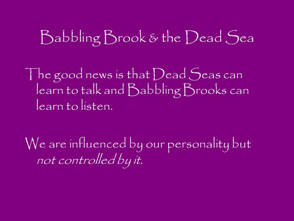 Babbling Brook & the Dead Sea