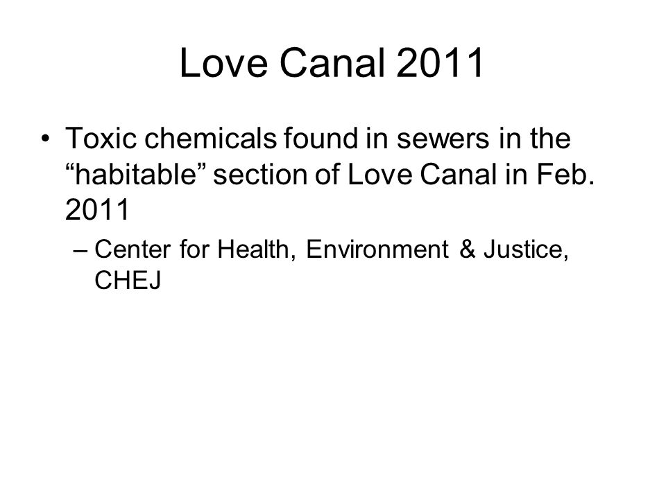 Love Canal 2011 Toxic chemicals found in sewers in the habitable section of Love Canal in Feb. 2011.