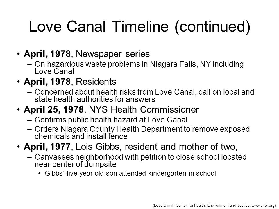 Love Canal Timeline (continued)