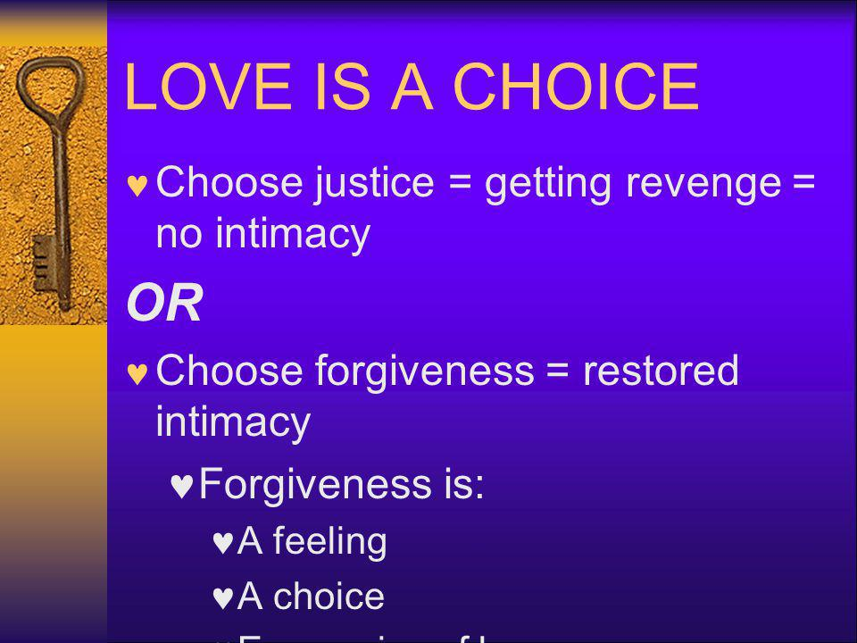 LOVE IS A CHOICE OR Choose justice = getting revenge = no intimacy