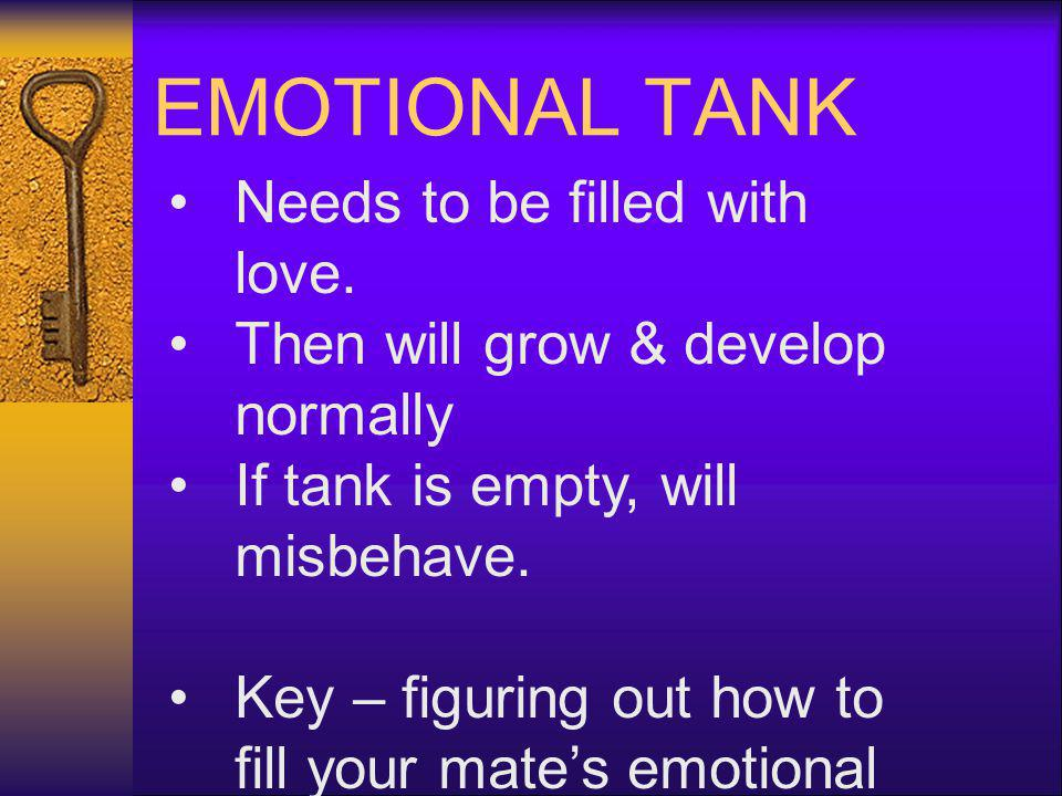 EMOTIONAL TANK Needs to be filled with love.