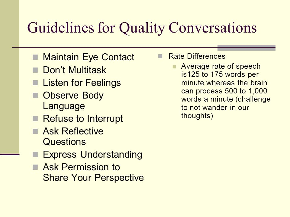 Guidelines for Quality Conversations