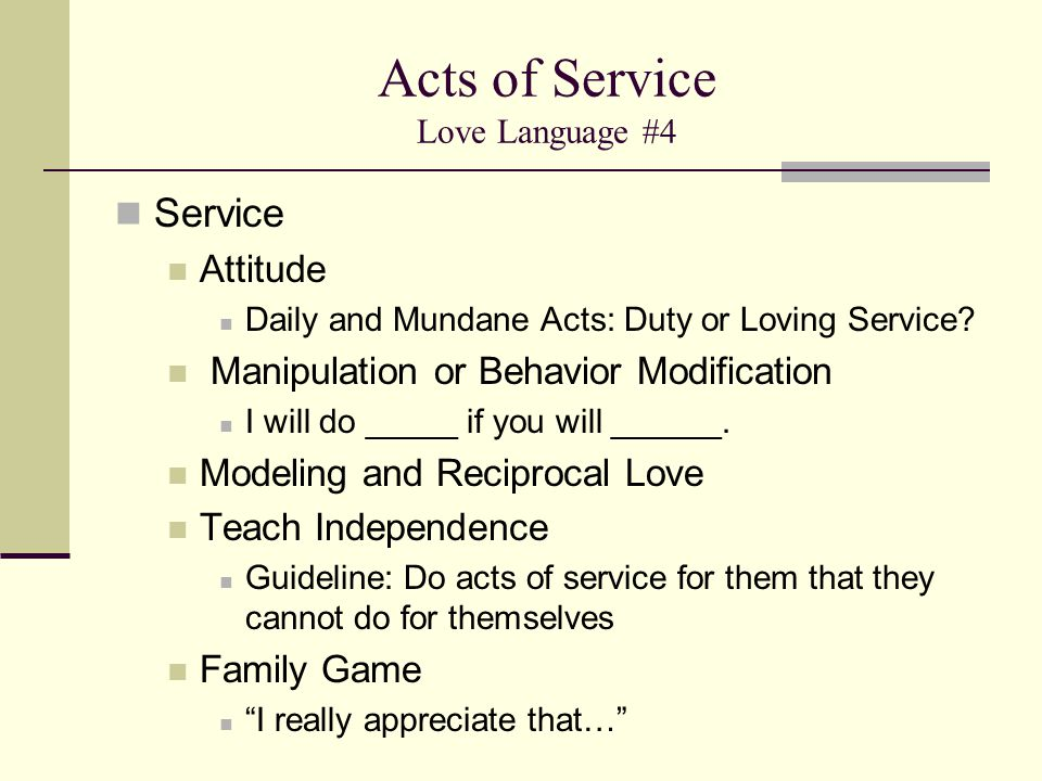 Acts of Service Love Language #4
