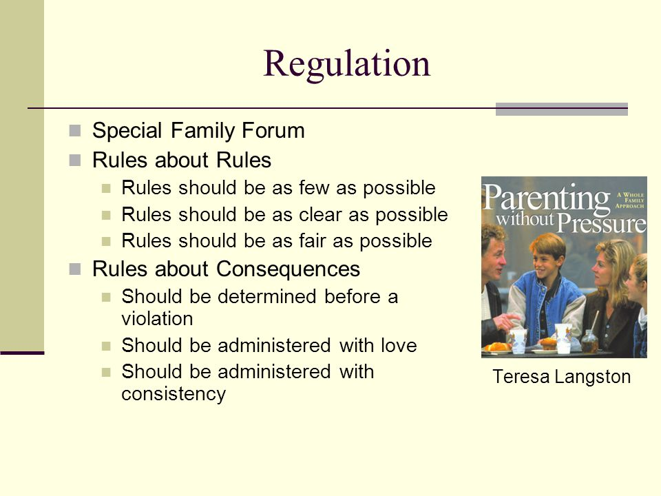 Regulation Special Family Forum Rules about Rules