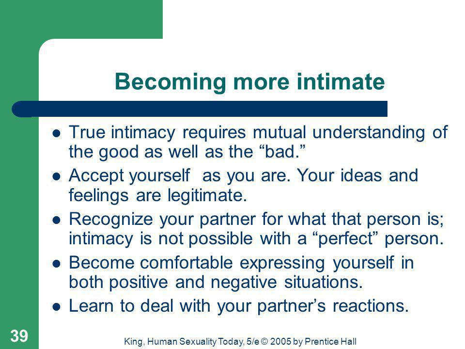 Becoming more intimate