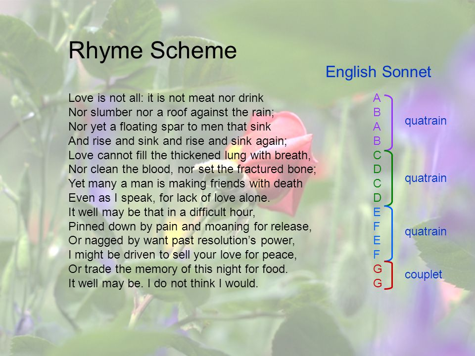 Rhyme Scheme English Sonnet quatrain