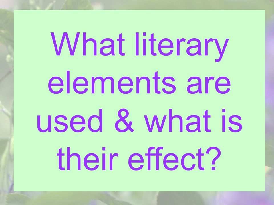 What literary elements are used & what is their effect