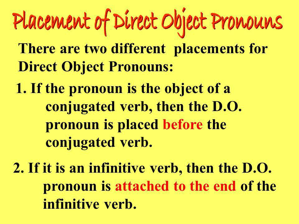 Placement of Direct Object Pronouns