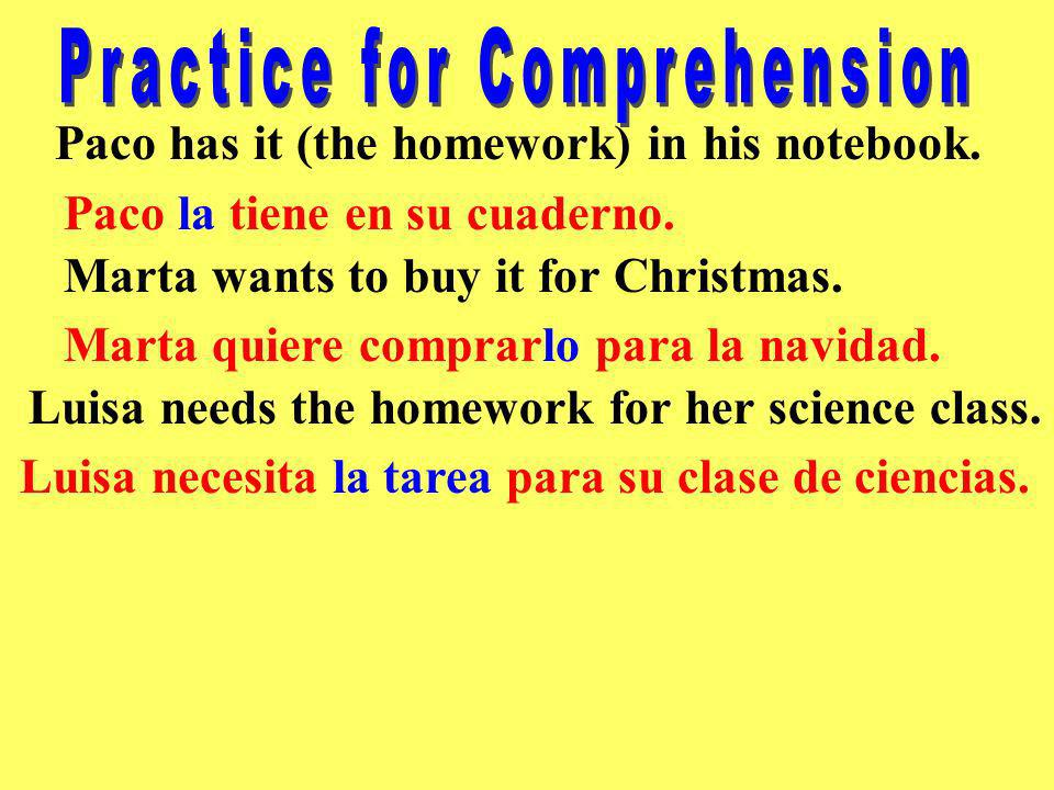 Practice for Comprehension