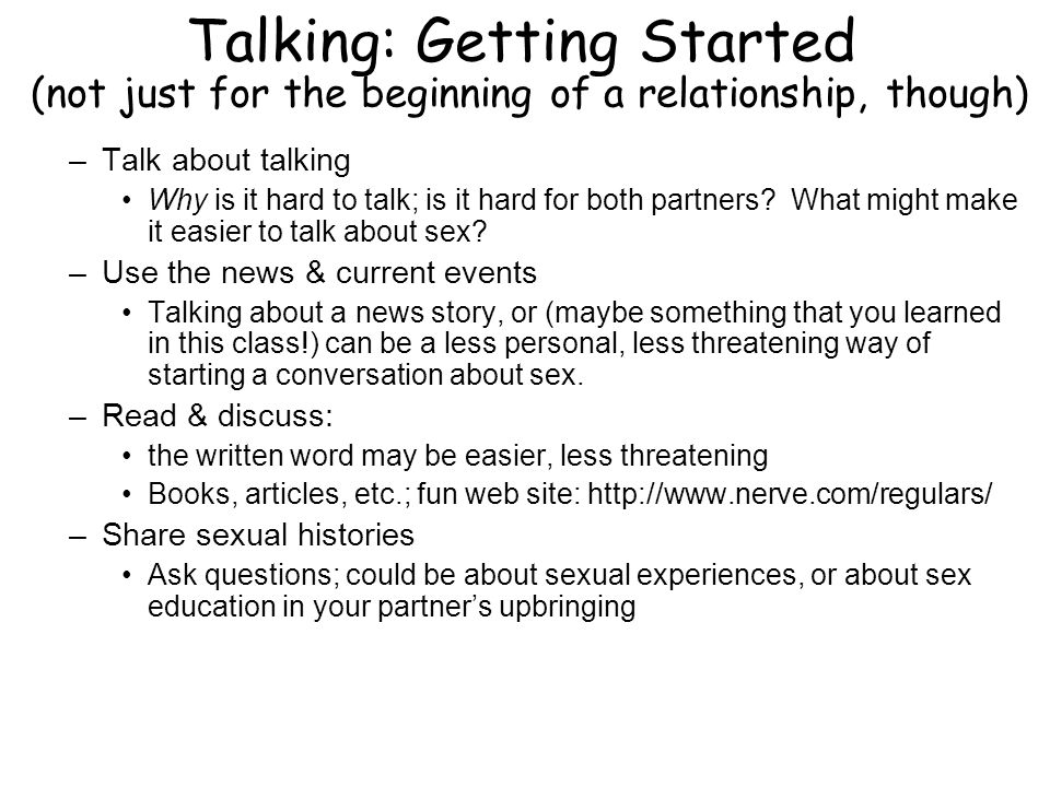 Talking: Getting Started (not just for the beginning of a relationship, though)