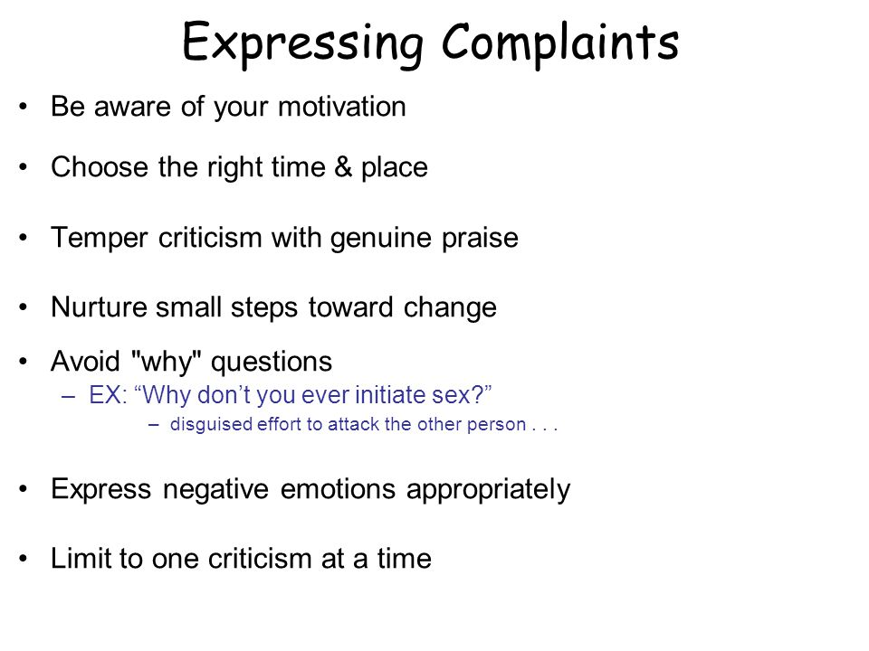 Expressing Complaints