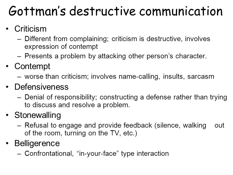 Gottman's destructive communication