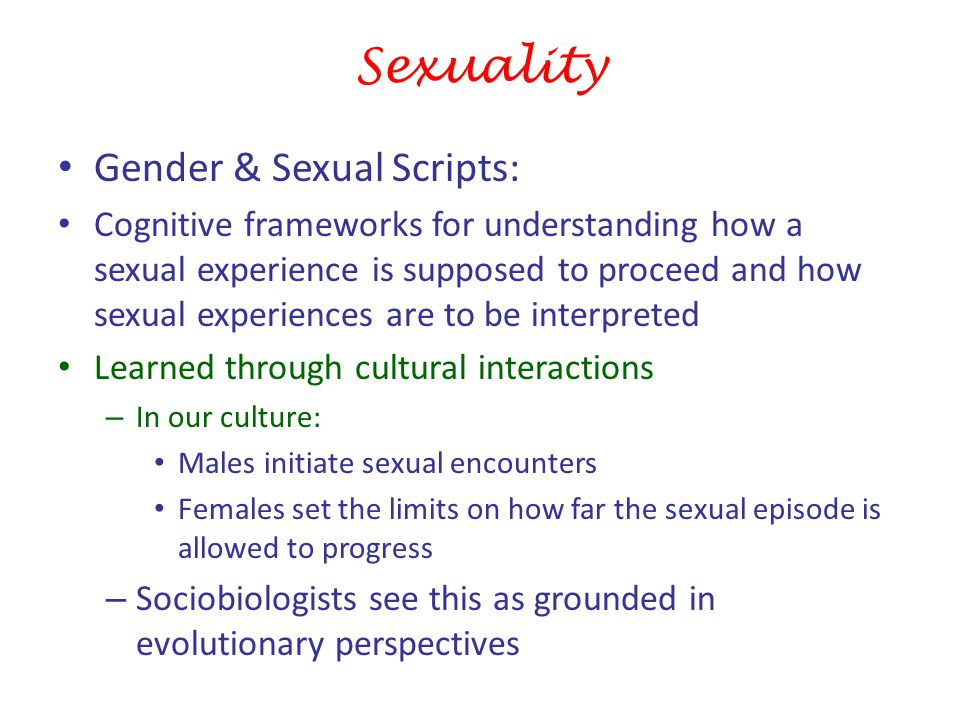 Sexuality Gender & Sexual Scripts: