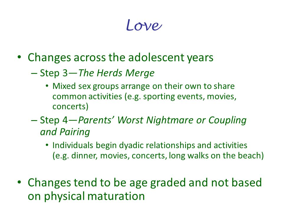 Love Changes across the adolescent years