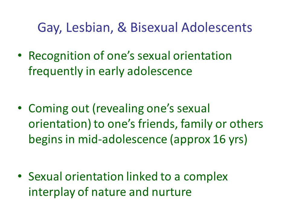 Gay, Lesbian, & Bisexual Adolescents