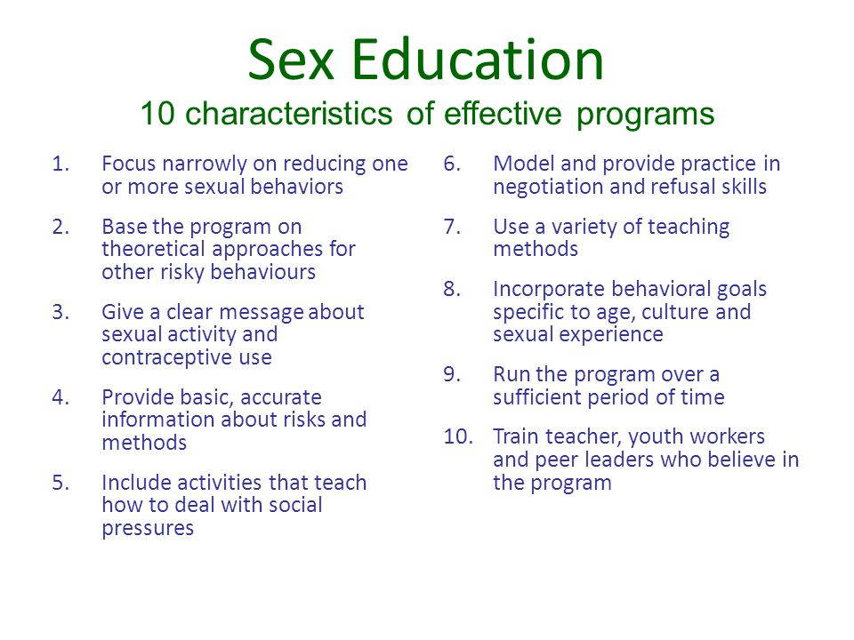 Sex Education 10 characteristics of effective programs