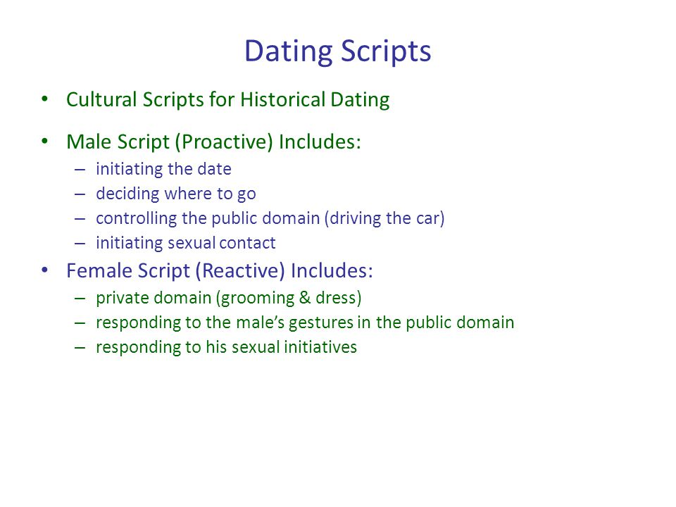 Dating Scripts Cultural Scripts for Historical Dating